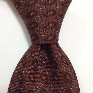 "BATTISTONI Men's Silk XL 63 1/2"" Necktie ITALY Luxury Geometric Brown/Blue EUC"