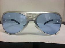ELVIS ALL METAL SUNGLASSES  SILVER CUSTOM BLUE LENSES TRADE MARK EP Aluminum