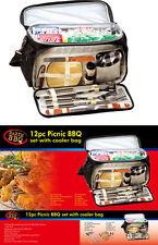 COMPLETO Pic-Nic Set 12pc BBQ Set con Cooler Bag BBQ idea regalo per quelli D'AMORE NUOVO