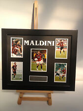 UNIQUE PROFESSIONALLY FRAMED, SIGNED PAOLO MALDINI PHOTO COLLAGE WITH PLAQUE.
