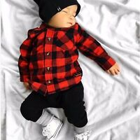 Toddler Kids Baby Boy Cotton Long Sleeve Plaid Shirt T-shirt Tops Outfit Clothes