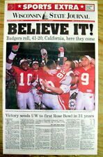 BEST 1993 display newspaper WISCONSIN defeats MICHIGAN STATE & goes to ROSE BOWL