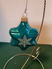 Vtg Glass Christmas Ornaments Sears Made in Germany 4 Blue Stars w Snowflakes