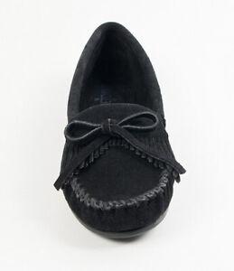 MINNETONKA Kilty Fringed Loafers Black Nubuck Suede UK 7 EU 40 Moccasins RRP £68