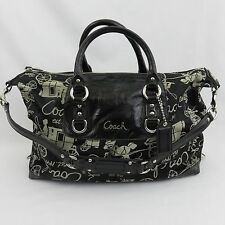 Coach Ashley Black 3 Way Shoulder Bag Purse Handbag  Horse Carriage F15653 EUC