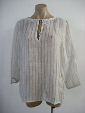 EILEEN FISHER Linen Gauze Wide Neck 3/4 Sleeve Blouse Box Top Medium M NWT $198