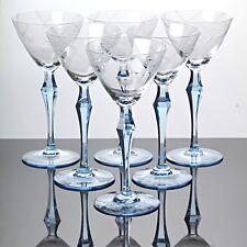 6 Weingläser 18,5 cm hohe Stängelgläser Hellblau Art Deco ~ 30er Jahre Glas