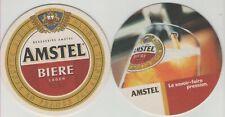 2 Sous Bocks bierdeckel viltje,coaster AMSTEL LAGER Le savoir-faire pression