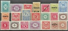 AUSTRIA, 21 UN-MOUNTED MINT POSTAGE DUE STAMPS FROM 1908-47..