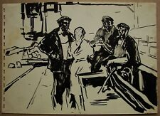 Russian Ukrainian Soviet gouache Painting realism factory worker genre 1950s