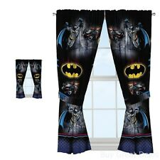 Batman Window Curtains Drapes Boys Bedroom Decor Hanging Black Superhero New