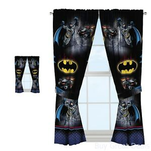 Batman Window Curtains Drapes Boys Bedroom Decor Hanging Black Superhero New