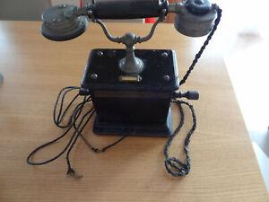 Telefon Handkurbel Standgerät Holzgehäuse alt antik gebraucht