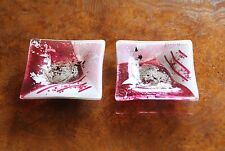 FUSED GLASS ART Pink White Silver Square Glass Platter Aphrodite Collection H116