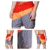 New Nike Mens Volley Breaker Colorblock Swim Shorts Trunks Multi Red MSRP $58