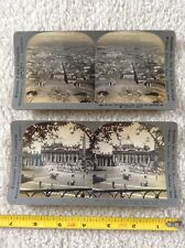 lot of 2 St Peter's Rome Eternal City Pope Leo Keystone Stereoview View card Com
