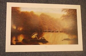 David J Lawrence Motherhood signed limited edition print Otters by Tarr Steps