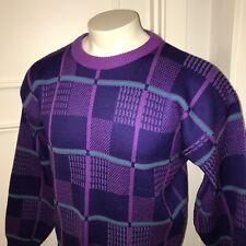 Vtg 80s 90s NILS Ski Sweater Retro Fresh Cosby GAPER DAY Apres Purple Mens LARGE