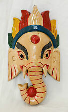 Wooden Handcrafted Lord Ganesh Elephant Mask Home Decorative Nepal Fairtrade