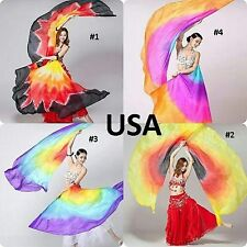 Belly Dance Silk Wings Isis Fans Veils Quick Shipping USA FREE Gift