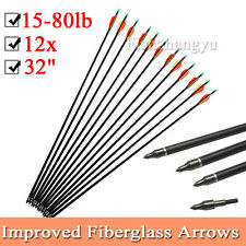 "AU 12PCS 32"" Fiberglass Arrows 15-80LB Screw Nocks Compound Bow Topseller NEW"