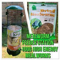 Supa Wild Bird Feeder Station Plus 1 X Premium High Energy Dried Mealworm 100g
