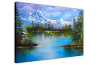 Snowy Mountain Lake Oil Painting Re-Print Framed Canvas Prints Wall Art Pictures