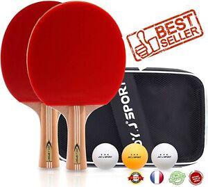 2 Raquettes de Ping Pong + 3 Balles 1+ Sac, Idéal pour Camping Vacances