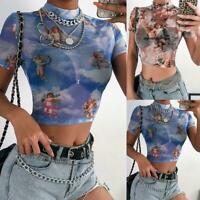 Cupid Angel Print Short Sleeve Tshirt Women Turtleneck Transparent D5D3 Mes E2D5