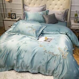 Cotton Satin Jacquard Embroidery Orange Sheet Quilt Cover Pillowcase Bedding Set