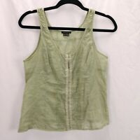 Theory Scoop Neck TankTop Size S Sage Green Cotton Lawn Cottagecore Goblincore