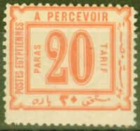 Egypt 1884 20pa Red SGD58 Fine & Fresh Very Lightly Mtd Mint
