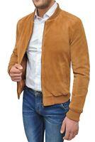 Cappotto giacca uomo invernale beige cammello scamosciato giubbotto slim fit