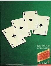 "Publicité Advertising 1984 Scotch Whisky ""Red Label"" Johnnie Walker"