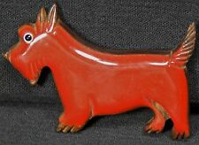 Vtg Carved Cherry Bakelite Catalin Laminated Wood Scottie Terrier Dog Pin Brooch