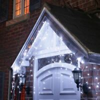 400 9m Christmas LED Icicle Chasing Lights White Bright Xmas Tree Indoor Outdoor