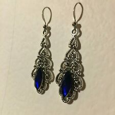 VICTORIAN STYLE FILIGREE SILVER PL EARRINGS DEEP BLUE CRYSTAL POINTED STONE Hook