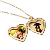 Gold Heart Friend Photo Picture Frame Locket Pendant Chain Necklace Jewelry-Gift