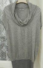 ( Ref 1390 ) Marks & Spencer - Size 22 - Grey Cap Sleeve Striped Summer Jumper