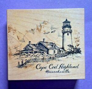 PSX Rubber Stamp Wood Mt Cape Cod Highland Massachusetts Lighthouse K-2850 VTG