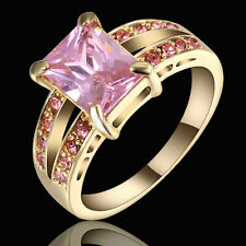 Size 7 Square Pink Sapphire Engagement Ring gold Rhodium Plated Party Jewelry