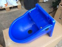 "AUTOMATIC FLOAT DRINKER 4L - Plastic Bowl Horse Stable Cattle Cow 1/2"" Blue"