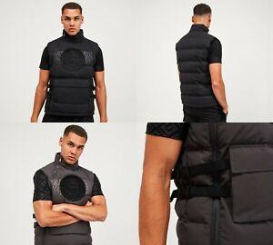 Glorious Gangsta Mens Padded Quilted Puffer Sleeveless Gilet Jacket Bodywarmer