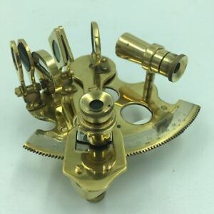 """Vintage Nautical Aged Brass Sextant 4"""" Functional Maritime Decor, For Captain"""