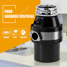 1.0 HP Food Garbage Disposal Continuous Feed Kitchen Waste with Plug 2600 RPM