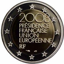 Francia 2 euro moneta Presidenza dell'UE 2008 PIASTRA LUCIDE IN ASTUCCIO