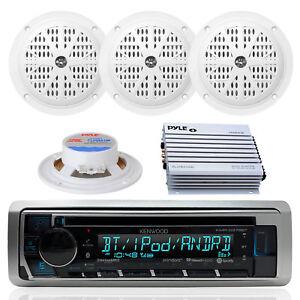 Marine KMRD375BT In Dash CD MP3 Radio Player & 400 Watt Amplifier & 4 Speakers