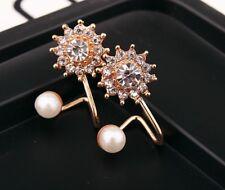 Fashion Rose Gold Simulated Pearl Snowflake Ear Jacket Stud Earrings