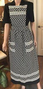 Remarkable Artisan Full Length Chef Apron Dress Black & Beige Dots w/Pockets