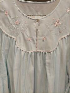 Barbizon Cuddleskin Size L  Nightgown Full Length Soft Blue Gown Lace Details